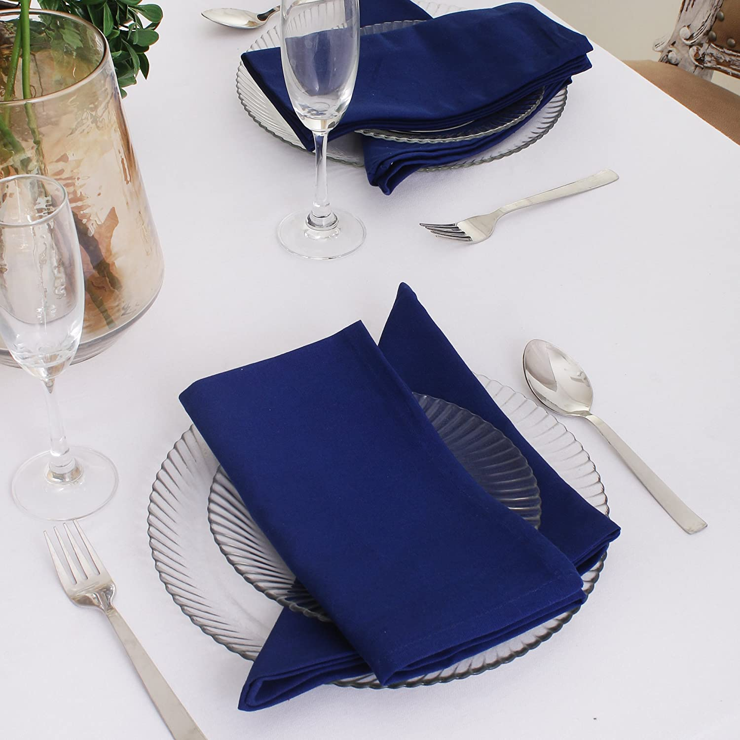 Quick Dry 20 x 20 Inches Hemmed with Mitered Corners Lint Free Set of 12 Over Sized Embroidery and Print DG Collections Cotton Dinner Napkins Grey