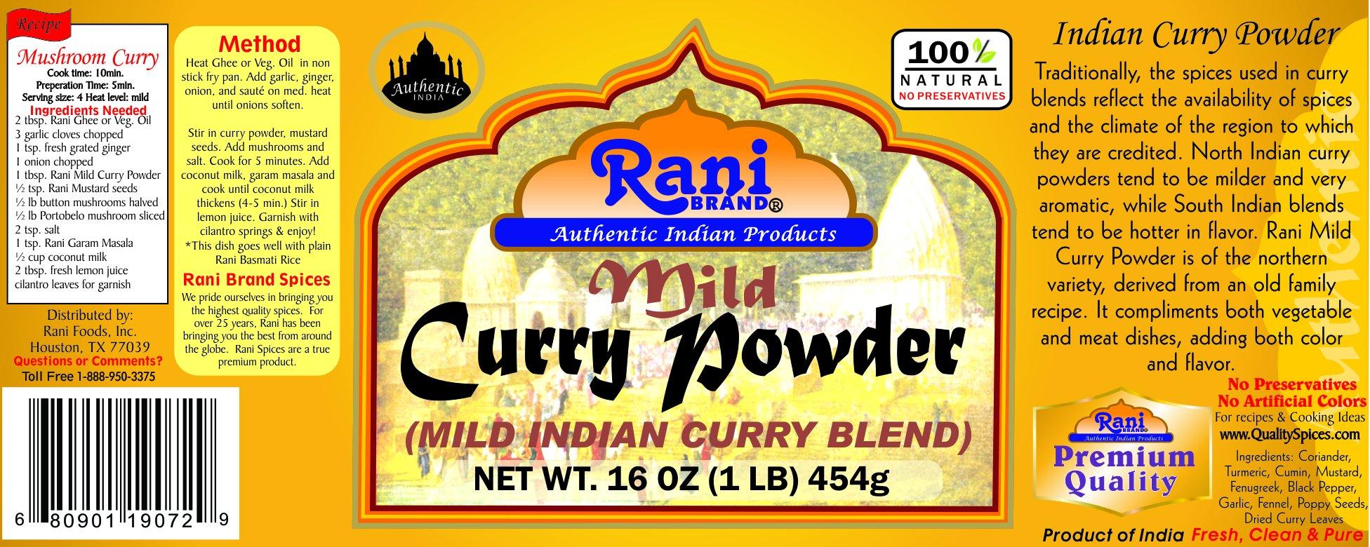 Rani Curry Powder Mild Natural 10-Spice Blend 1lb (16oz) ~ Salt Free | Vegan | Gluten Free Ingredients | NON-GMO