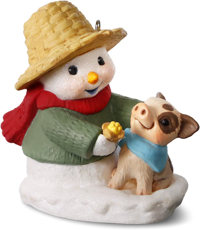 Hallmark Keepsake 2017 Snow Buddies Snowman and Pig Christmas Ornament