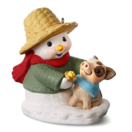 hallmark keepsake 2017 snow buddies snowman and pig christmas ornament - Hallmark Christmas Decorations 2017