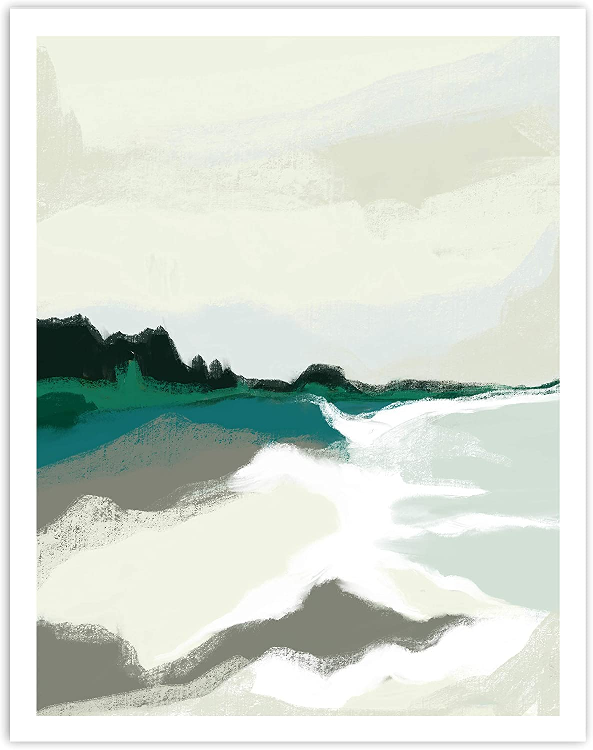 Printsmo, Blue and Cream Modern Abstract Landscape Art Print, Minimalist Art Prints for Home Decor, Boho Style Wall Art Poster, Neutral Bohemian Decor, 11x14 Inches, Unframed