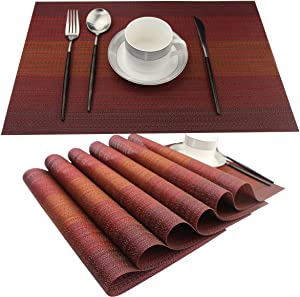 SINTELINE Placemat Washable Easy to Clean PVC Placemats for Kitchen Table Plastic Woven Vinyl Kitchen Table Mats(red, 6