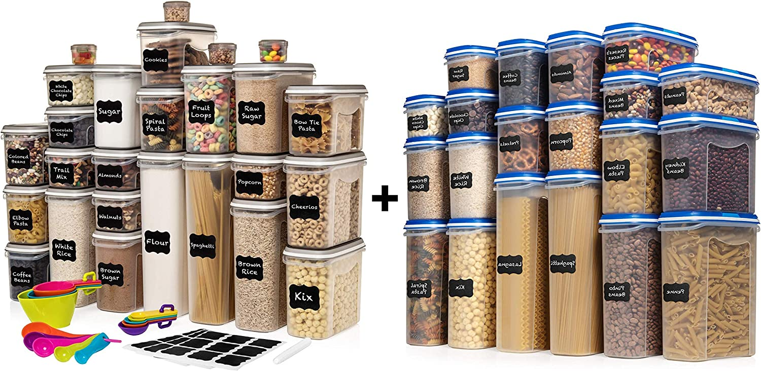 LARGEST Set of 52 Pc Food Storage Containers (26 Container Set) and Shazo Food Storage Containers 40-Piece Set (20 Container Set)
