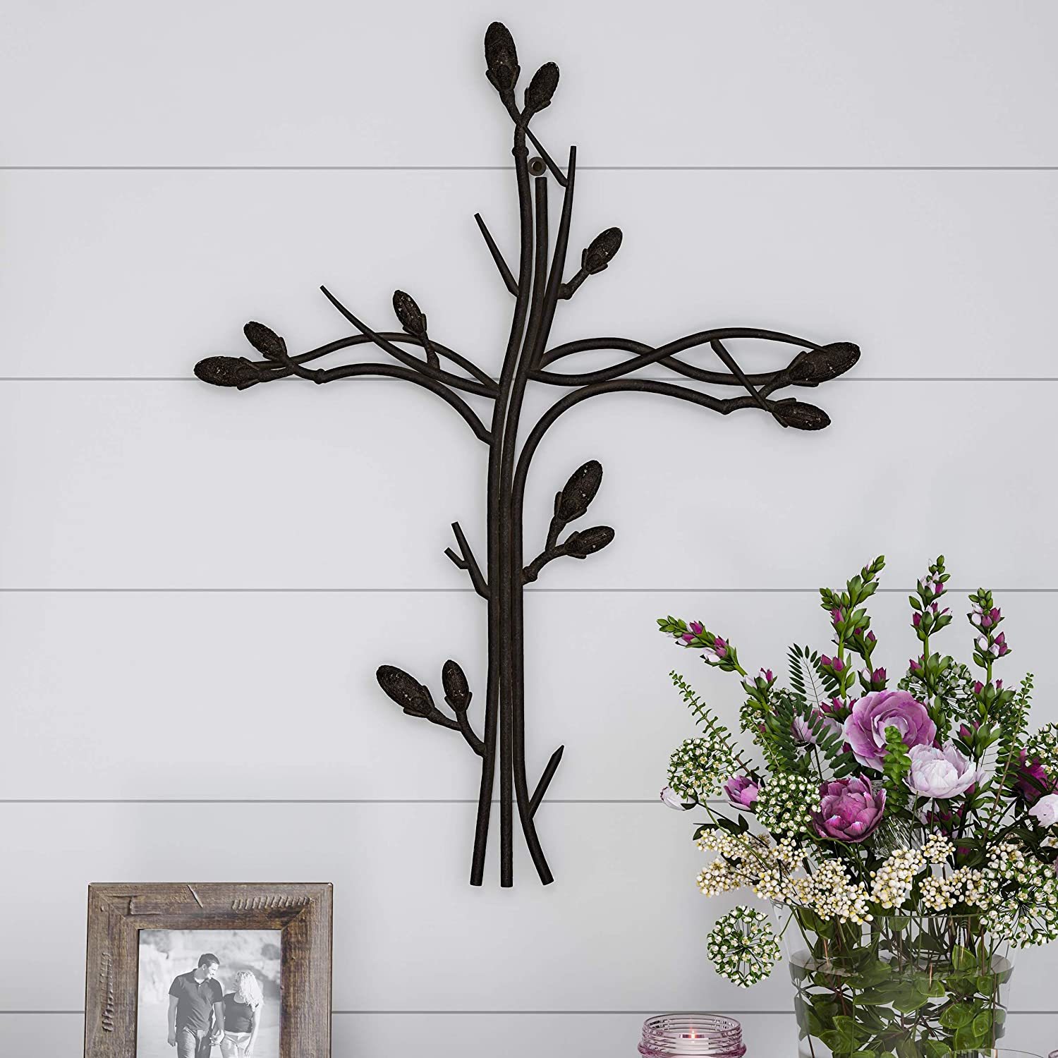 Lavish Home Handmade Short Flat White Mango Wood Vase Metal Wall Cross Intertwined Vine Design-Rustic Handcrafted Religious Art for Decor in Living Room, Bedroom
