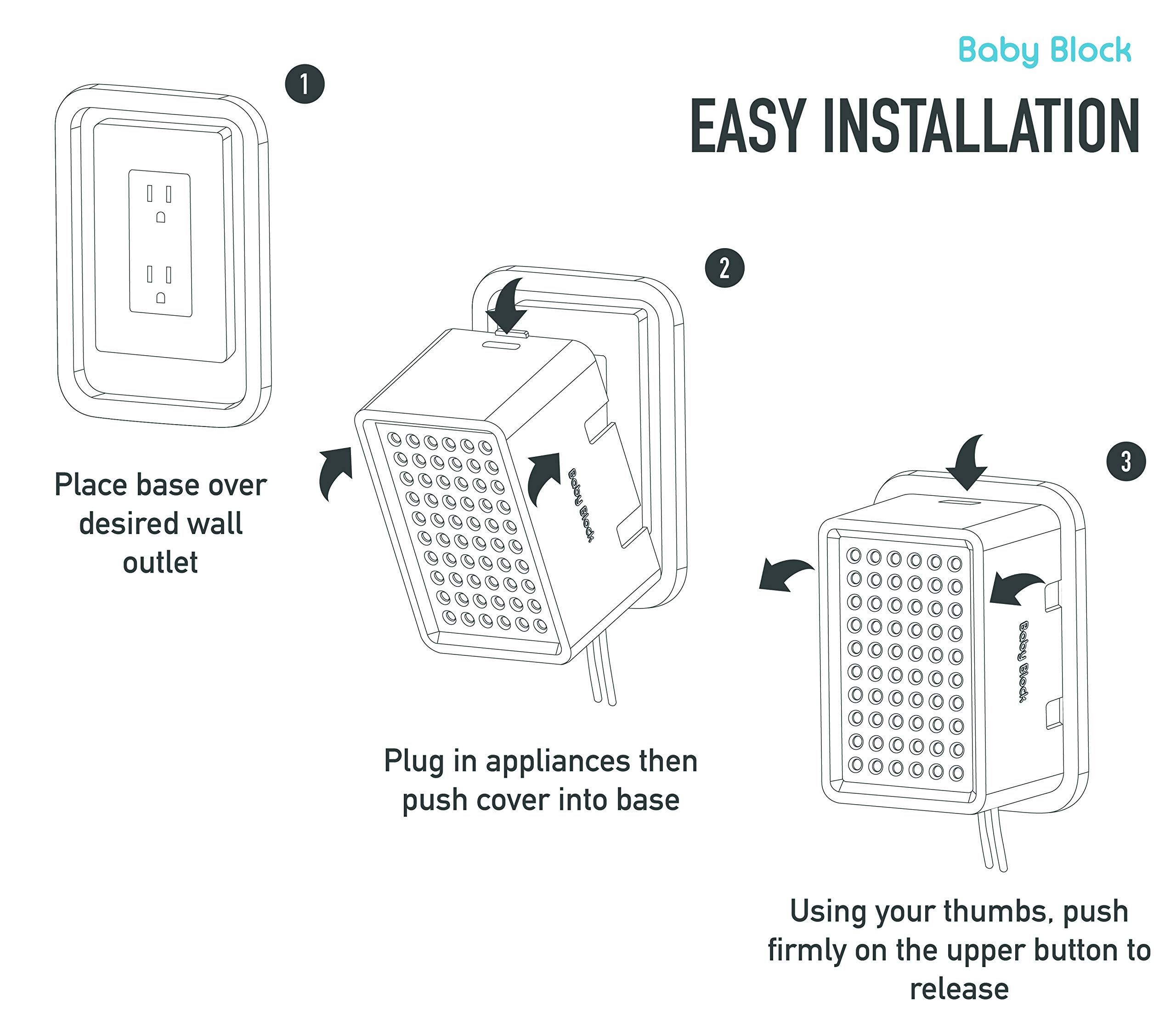 New: Universal Electric Outlet Cover | Child Safety & Baby Proofing | Protect Power Outlets, Wall Sockets and Plugs by Baby Block (Image #5)