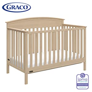 Graco Benton 4-in-1 Convertible Crib (Driftwood) – Easily Converts to Toddler Bed, Daybed or Full-Size Bed with Headboard, 3-Position Adjustable Mattress Support Base