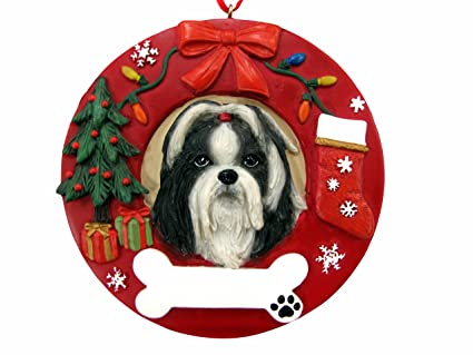 Amazoncom Es Pets Black And White Shih Tzu Personalized Christmas