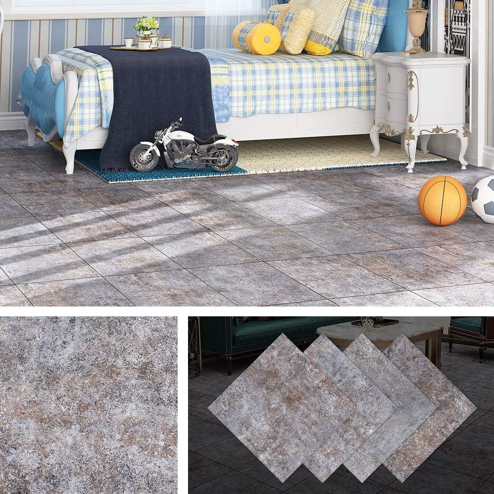 Livelynine Peel and Stick Floor Tile Self Adhesive Vinyl Flooring Peel and Stick Floor Tiles Garage Floor Gym Floor Kitchen Basement Waterproof Flooring Stickers, 12x12 Inch 4 Pack