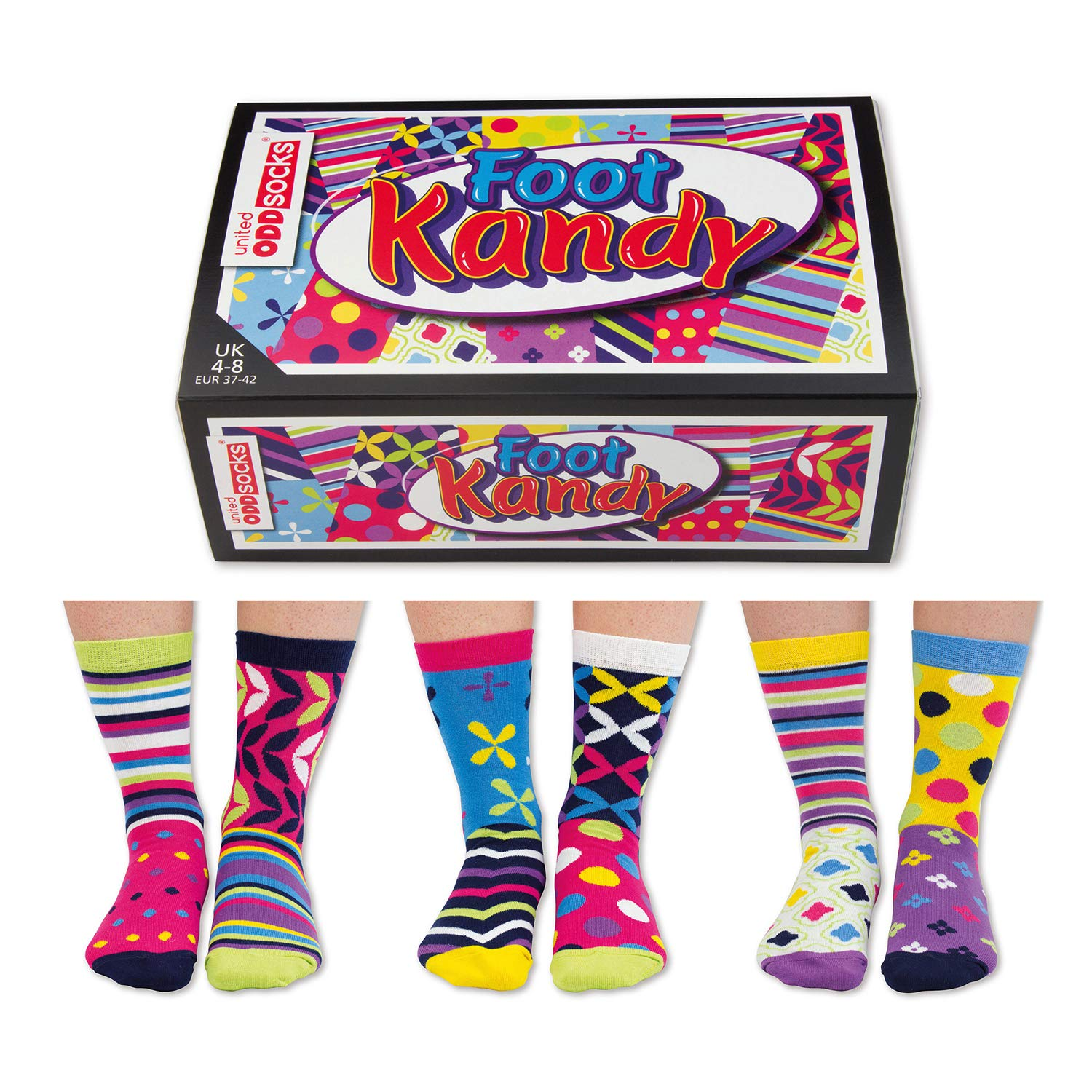 29b64ef3c29 The Present Store United Oddsocks Foot Kandy Lot de 6 chaussettes assorties  - 37 42