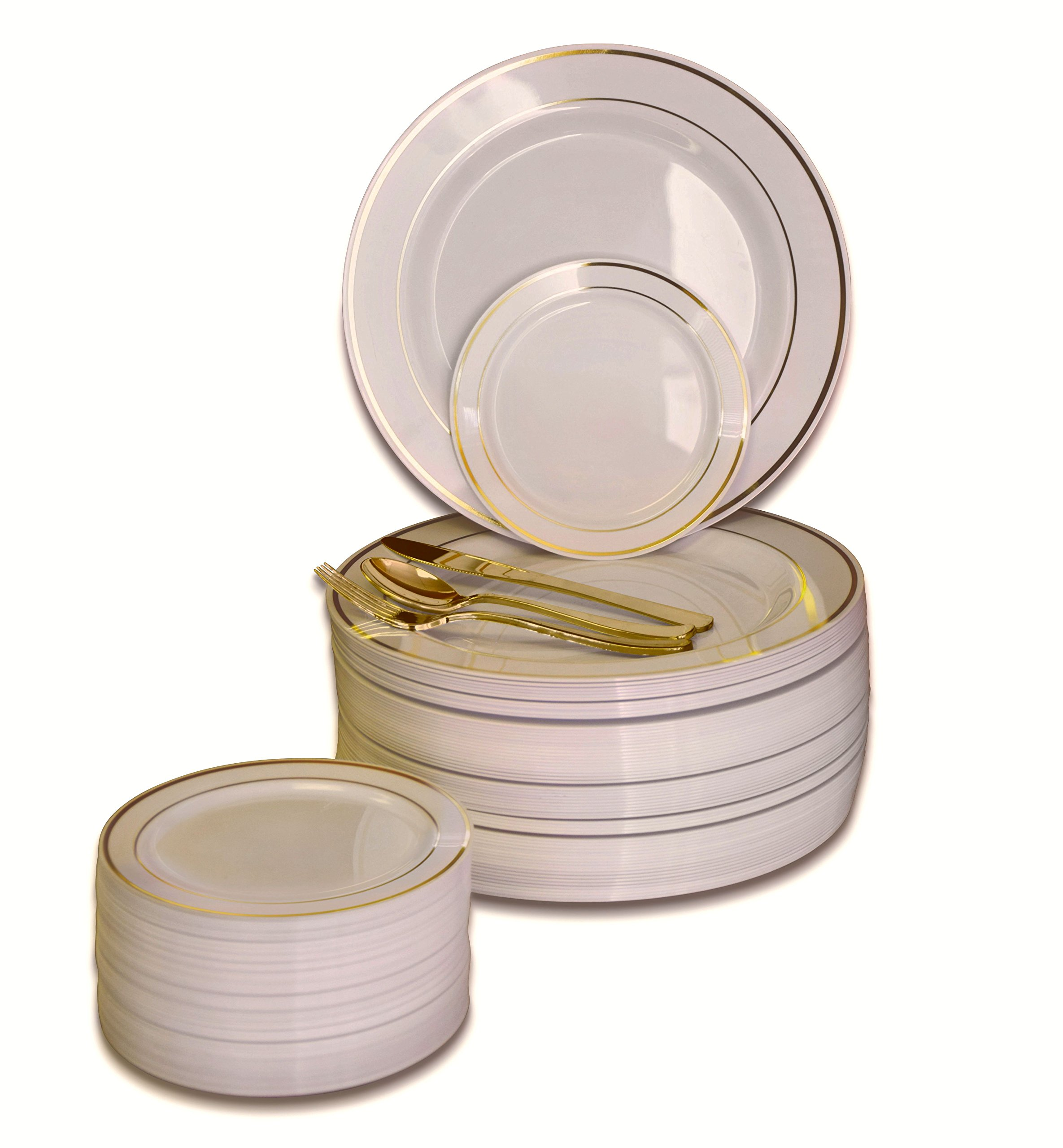 '' OCCASIONS '' 600 PCS / 120 GUEST Wedding Disposable Plastic Plate and Silverware Combo Set , ( Ivory / Gold Rim plates, Gold silverware ) by OCCASIONS FINEST PLASTIC TABLEWARE
