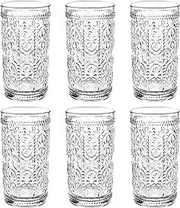 Bekith 6 Pack 12 oz Romantic Water Glasses, Premium Drinking Glasses Tumblers for Beverages, Beer, Refreshments, Vintage Glassware Set for Dinner Parties, Bars, Restaurants