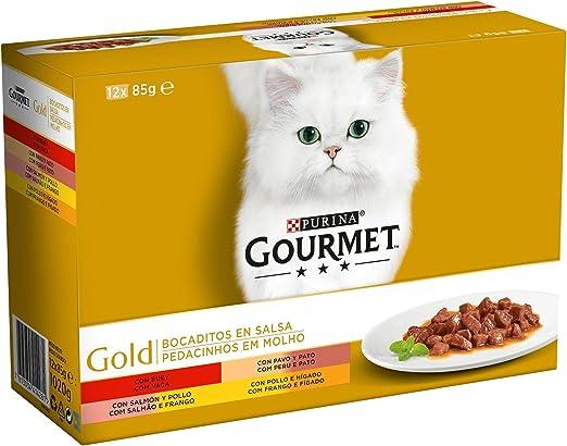 Purina Gourmet Gold Bocaditos en Salsa comida para gatos en latas ...