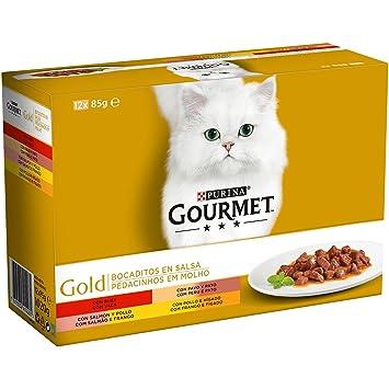Purina Gourmet Gold Bocaditos en Salsa comida para gatos en latas | 8 cajas de 12 latas pequeñas de 85gr: Amazon.es: Productos para mascotas