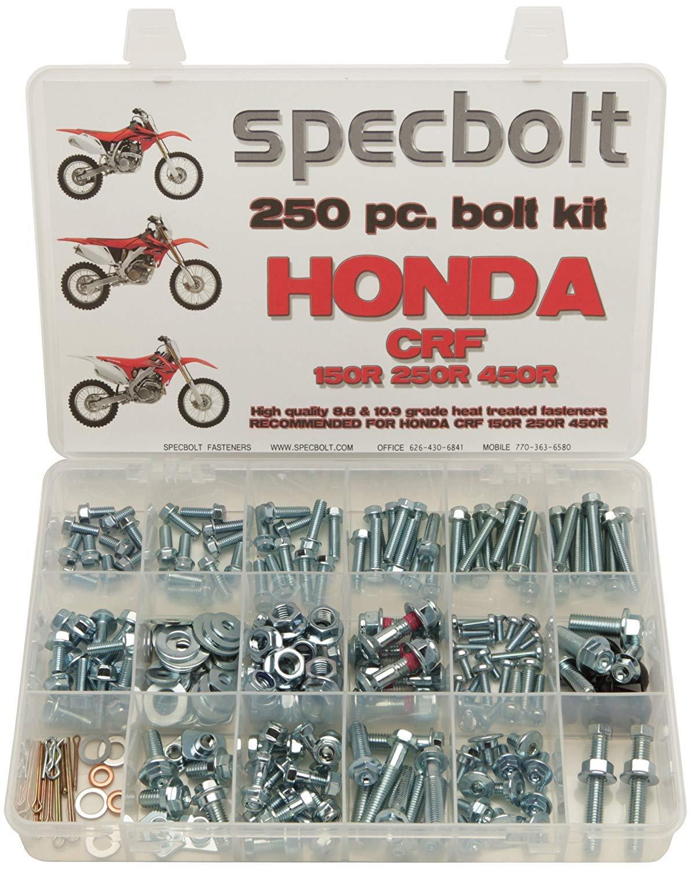 Specbolt Fasteners 250pc Maintenance Restoration OE Spec Motorcycle Bolt Kit for Honda CRF150 CRF250 CRF250 MX Dirtbike CRF 150 250 450