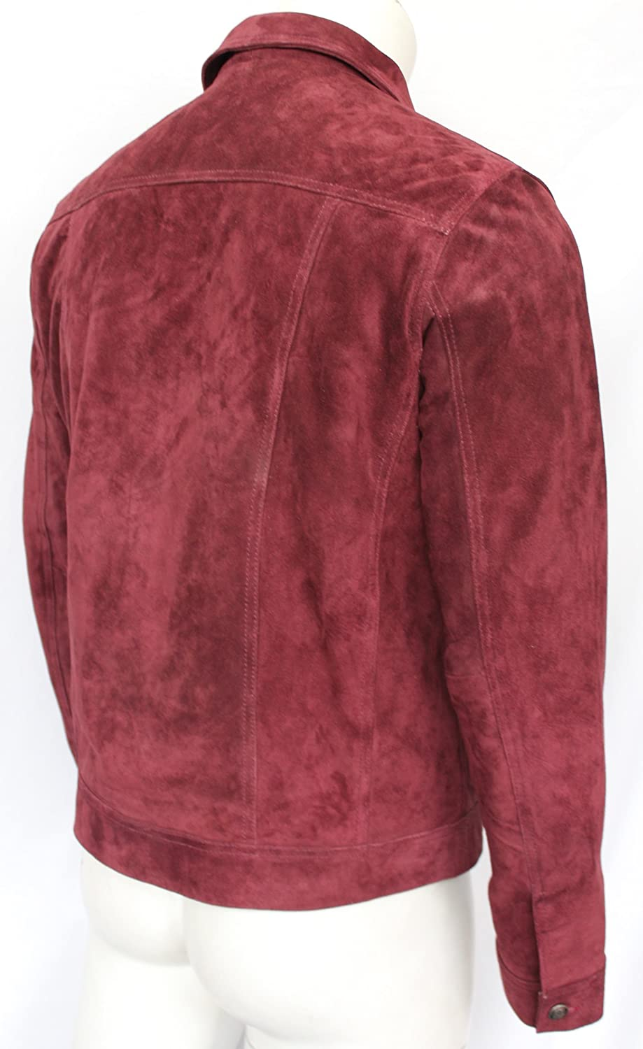 Mens 1280 MAROON Suede Trucker Stylish Classic Casual Shirt Real Leather Jacket