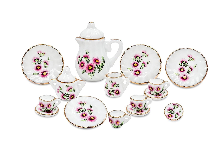 17pcs Dollhouse Miniature Teapot Set w/ Sugar Creamer Lids Cups Saucers and Plates Dapan Porcelain Factory