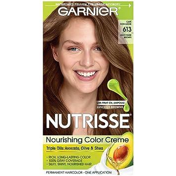 Garnier Nutrisse Nourishing Hair Color Creme, 613 Light Nude Brown (Packaging May Vary)