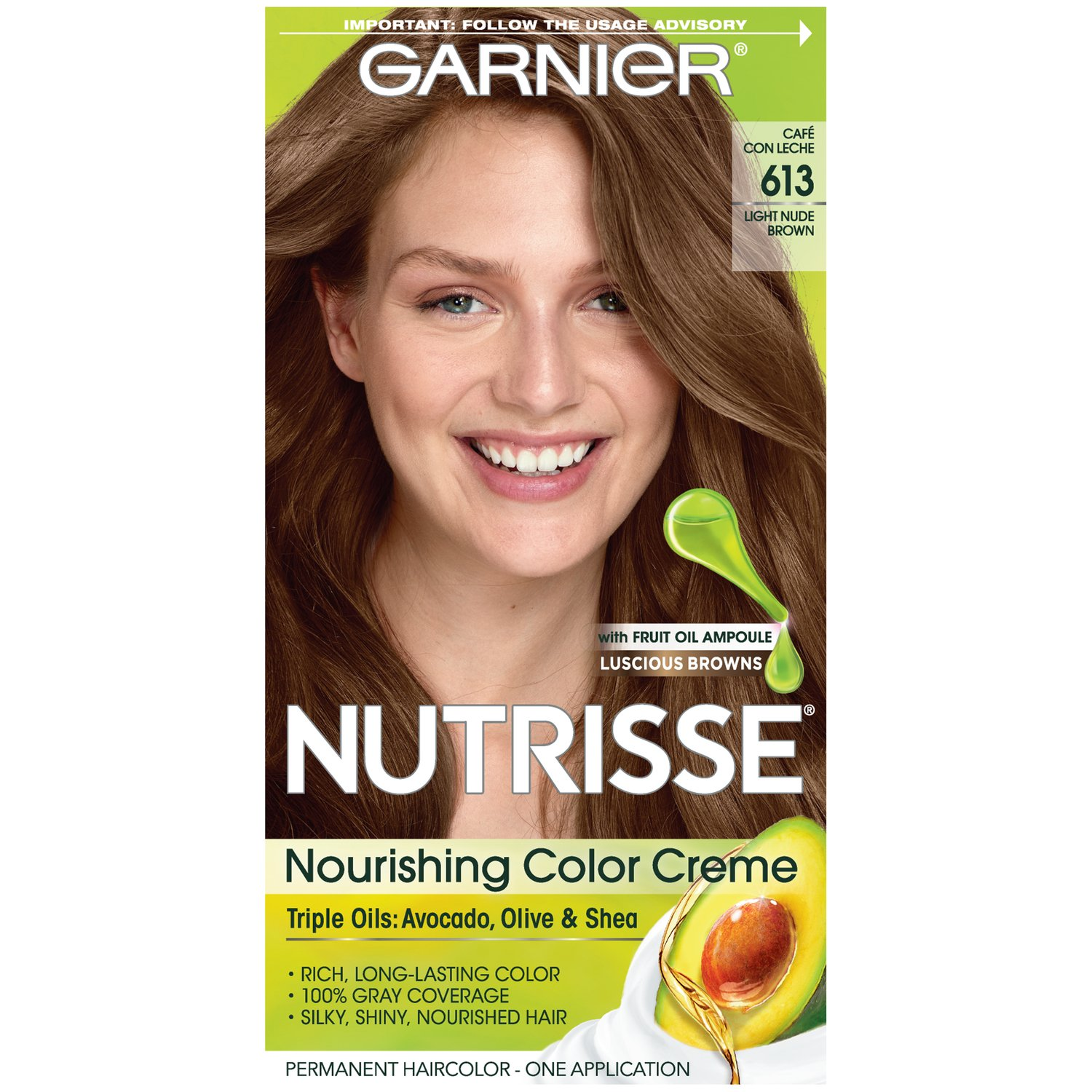 Garnier Nutrisse Nourishing Hair Color Creme, 613 Light Nude Brown (Packaging May Vary)