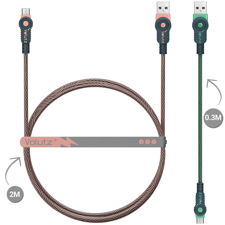 Cable Micro USB Volutz, paquete de 2 cables (2m + 30cm), Fast Charge, cables del cargador trenzados con Nylon, Sincronización y Carga rápidas para ...