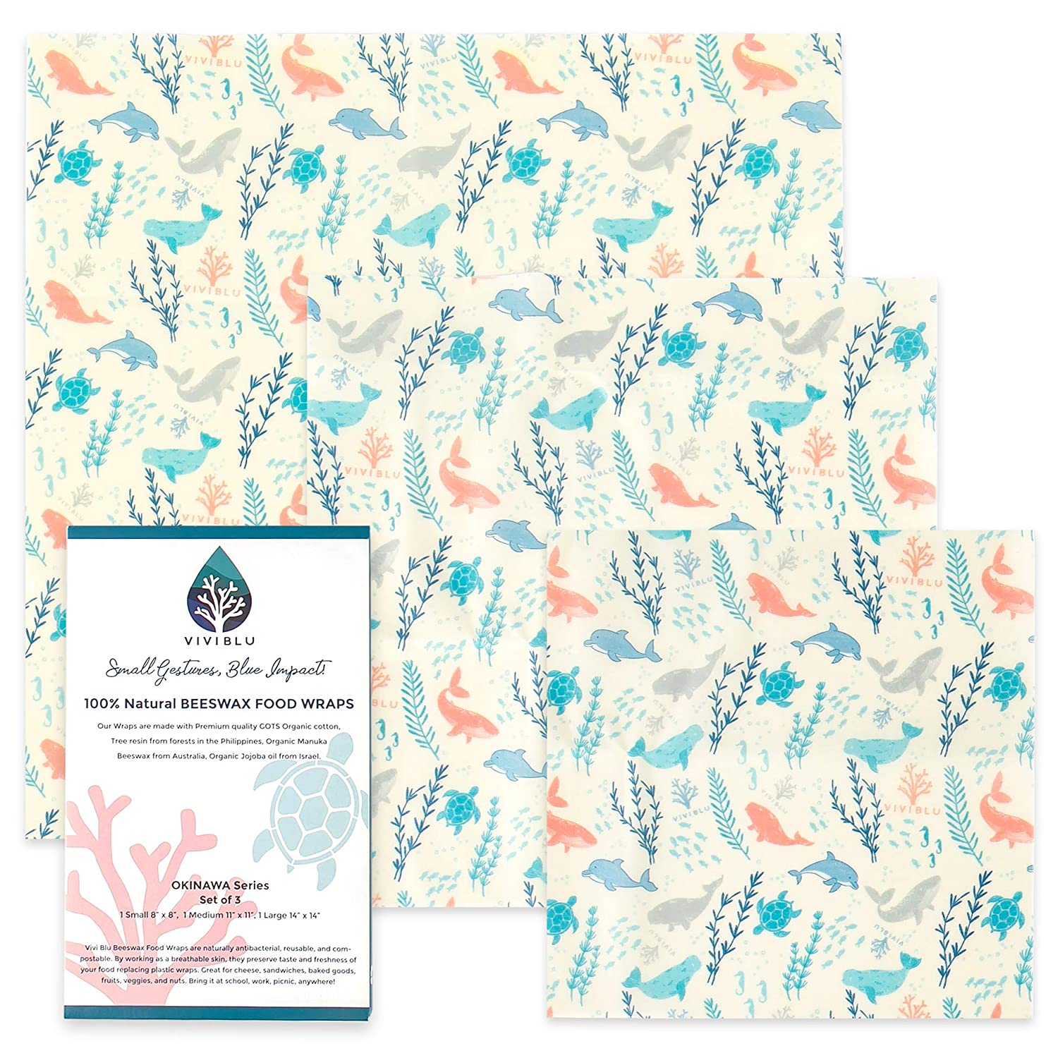 VIVIBLU Organic Reusable Beeswax Food Wrap - Okinawa Series Eco friendly &  Sustainable Premium Bees Wax Wraps - Plastic Free & Zero Waste Kitchen