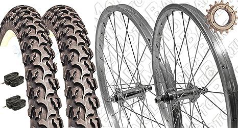Par Ruedas bicicleta 20 x 1.75 + piñón Z16 + neumáticos negro MTB ...