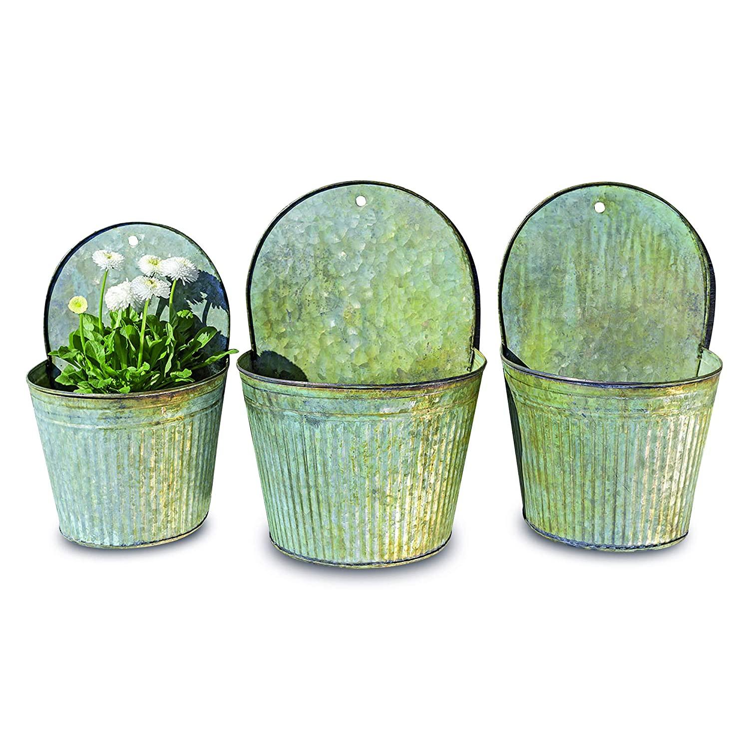 WHW Whole House Worlds Farmer's Market Feed Bin Wall Planters, Set of 3, Galvanized Metal, Corrugated, Rolled Edges, Distressed Vintage Finish, 13 1/2, 12 1/4 and 11 Inches High