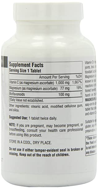 Amazon.com: SOURCE NATURALS Magnesium Ascorbate 1000 Mg Tablet, 120 Count: Health & Personal Care