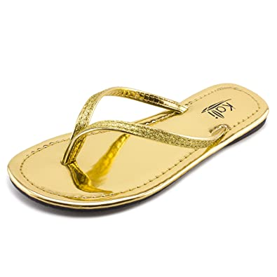 03f3e8c802e7e Kali Footwear Girl s Patent Flip Flop Flat Glitter Sandals 1 Gold
