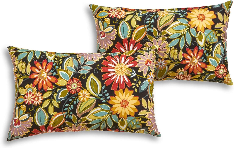 South Pine Porch AM5811S2-JUNGLE Jungle Floral Outdoor 19 x 12-inch Rectangle Accent Pillow, Set of 2, Multi-Color