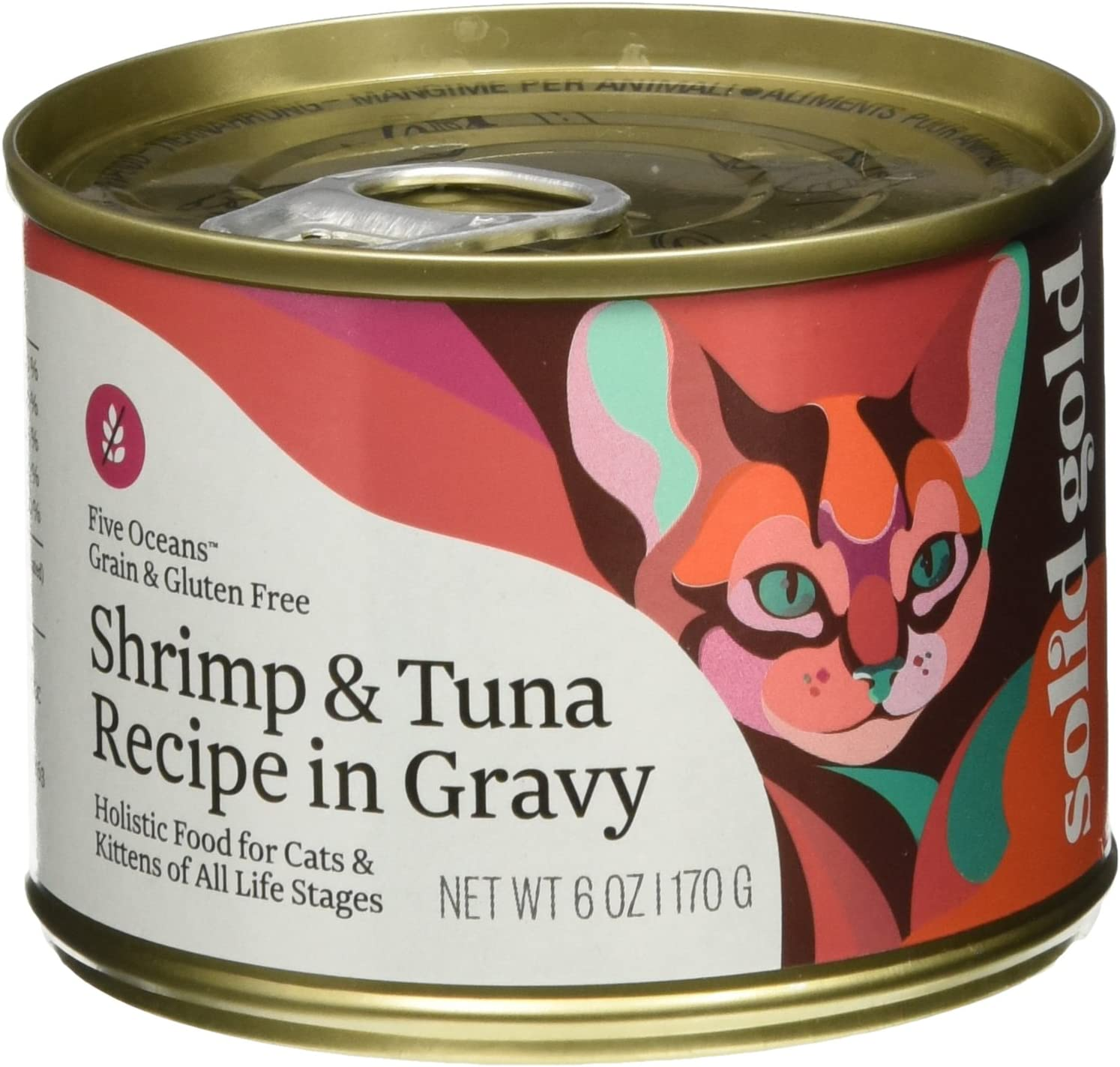 Solid Gold Five Oceans Holistic Wet Cat Food, Shrimp And Tuna Recipe In Gravy, 6 Oz Can, 8 Count