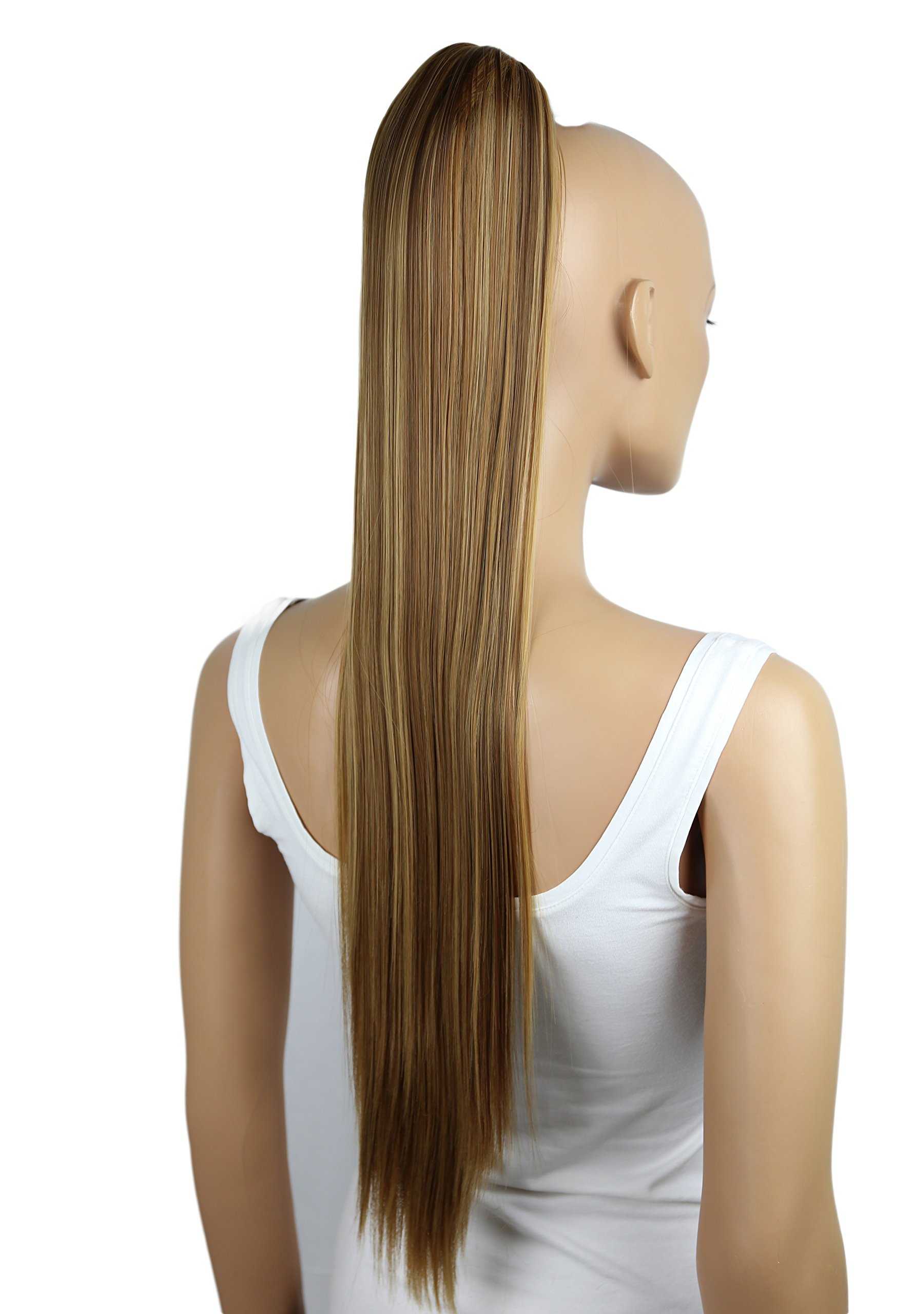 PRETTYSHOP Hairpiece Ponytail Clip on Extension Long hair smooth Heat-Resisting 27'' brown blond mix # 6H27 H165 by Prettyshop Hairpiece-Ponytail (Image #2)