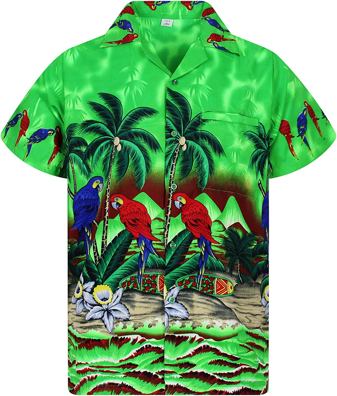 Funky Hawaiian Shirt Men Shortsleeve Frontpocket Hawaiian-Print Parrot Flowers