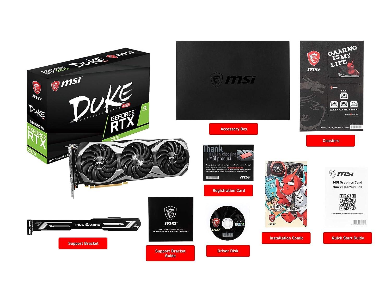RTX 2070 Duke 8G OC MSI Gaming GeForce RTX 2070 8GB GDRR6 256-bit HDMI//DP//USB Ray Tracing Turing Architecture HDCP Graphics Card