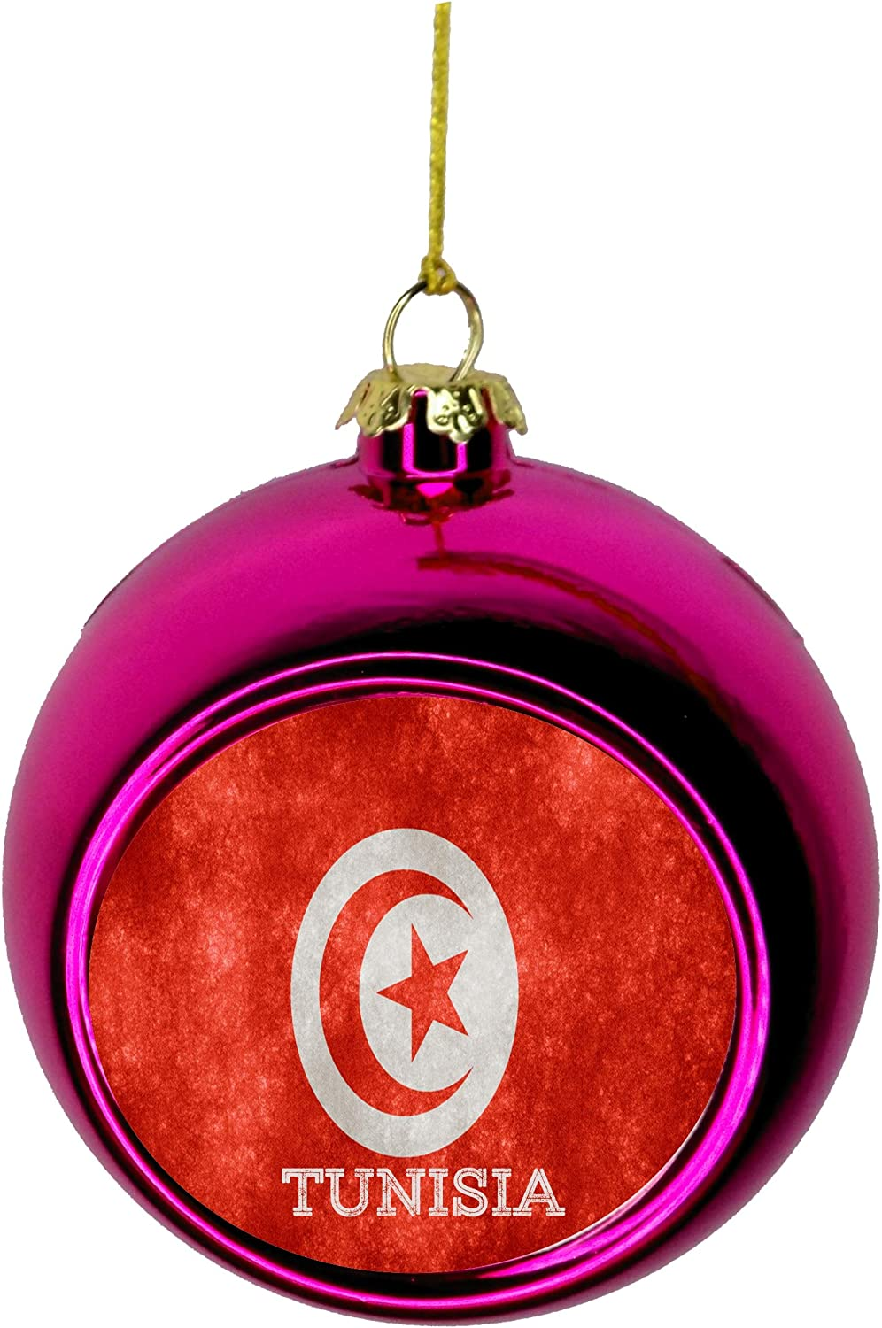 Amazon Com Rosie Parker Inc Flag Tunisia Tunisian Grunge Bauble Christmas Ornaments Pink Bauble Tree Xmas Balls Home Kitchen