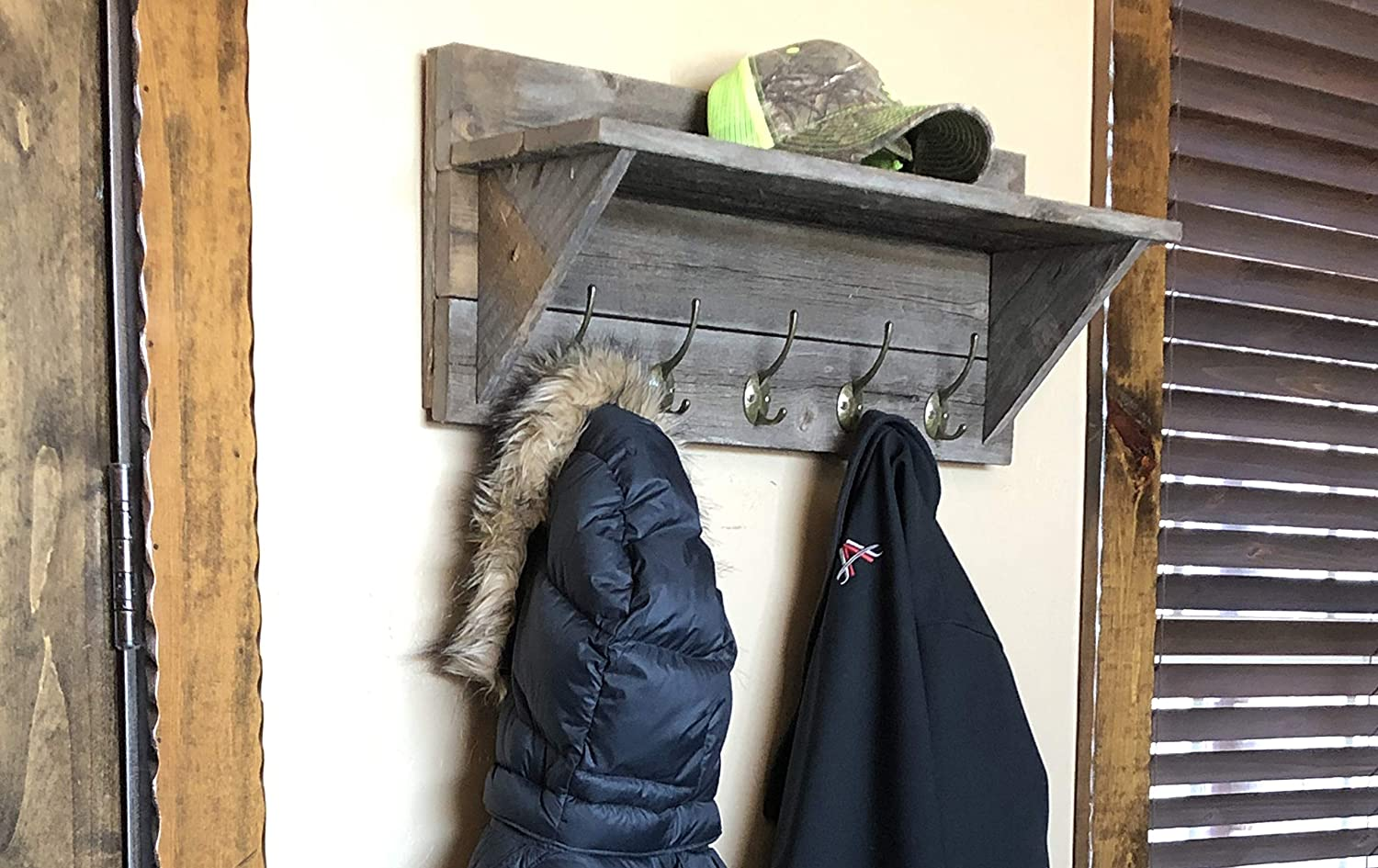 Rustic Wall Mounted Coat Rack and Hat Shelf, 100 Weathered Reclaimed Wood by Grampa s Rustic Decor
