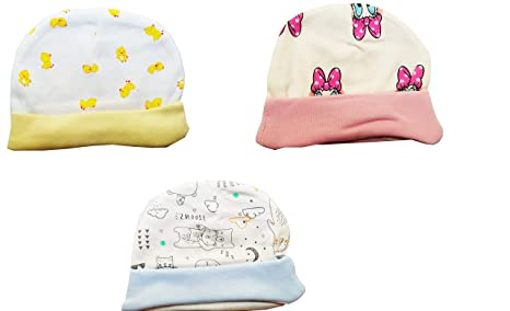 Cloudaby Cute New Born Baby Caps Soft Stretchable Cotton (Pack of 3)  (Design Print Color May Vary) 0 to 3 Months  Amazon.in  Baby e0c19933ec3