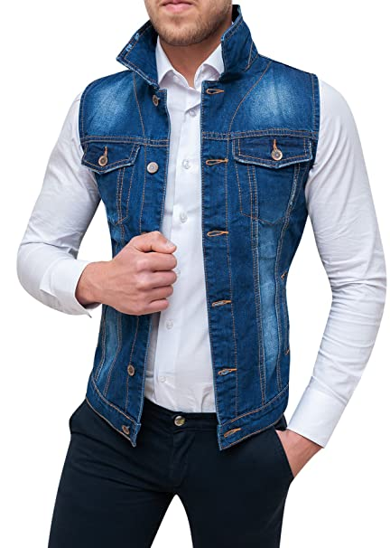 purchase cheap 212f6 c951e Evoga Giubbotto Smanicato di Jeans Uomo Blu Denim Cardigan Gilet Giacca  Casual