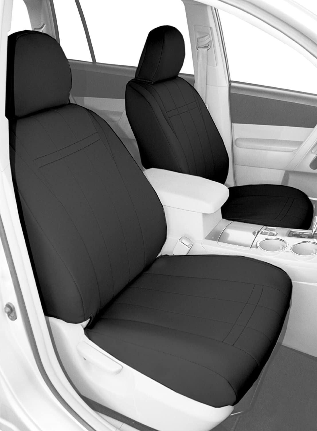 CalTrend Front Row Bucket Custom Fit Seat Cover for Select Nissan Xterra Models NeoSupreme Charcoal Insert and Trim