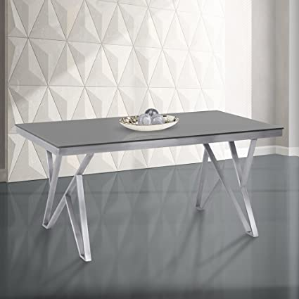 Charmant Armen Living LCMRDITOGG Mirage Dining Table With Glass Top And Brushed  Stainless Steel Finish