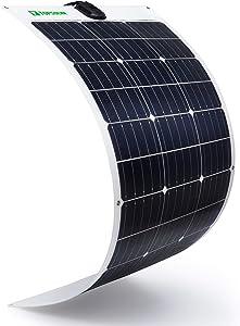 Topsolar Flexible Solar Panel 100W 12V Monocrystalline Bendable - 100 Watt 12Volt Semi-Flexible Mono Solar Panels Charger Off-Grid for RV Boat Cabin Van Car Uneven Surfaces