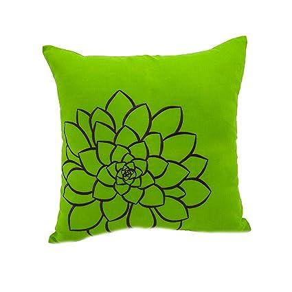Amazon.com: KainKain Green Brown Throw Pillow Embroidered ...