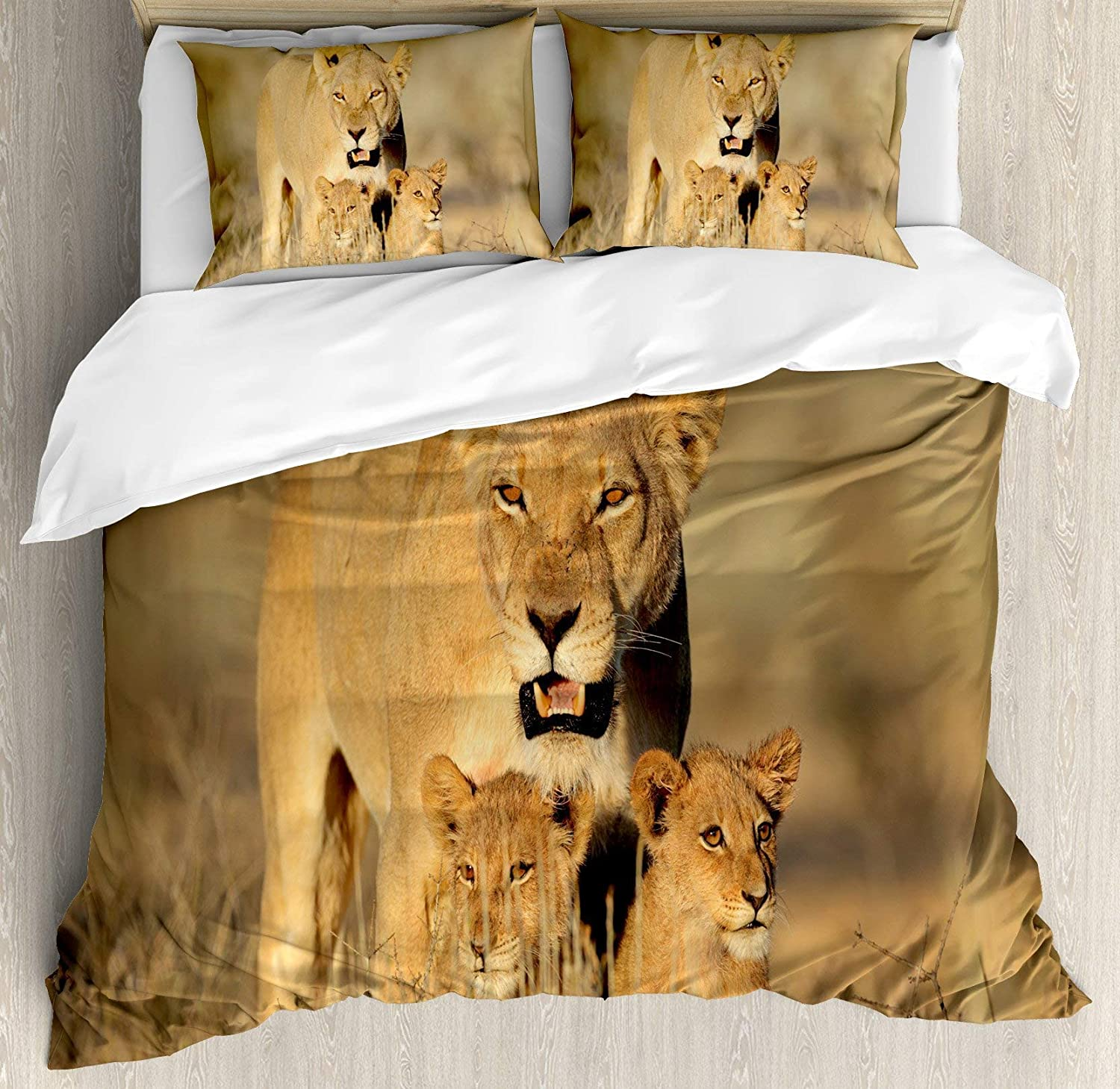 Multi 2 Twin BULING Safari 4pc Bedding Set Twin Size, Mom Lioness and Young Lion Kings in South African Nature Big Cats at Wilderness Safari Floral Lightweight Microfiber Duvet Cover Set, Cream