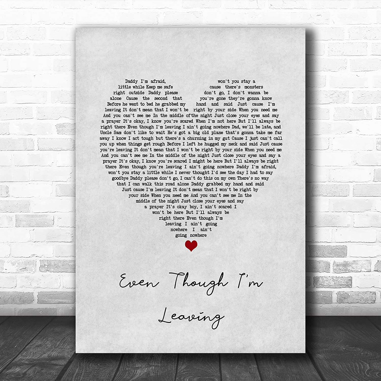 #Luke #Combs #Even Though I'm Leaving Grey Heart Song Lyric Music Poster Wall Art Home Decor Gifts for Lovers Painting