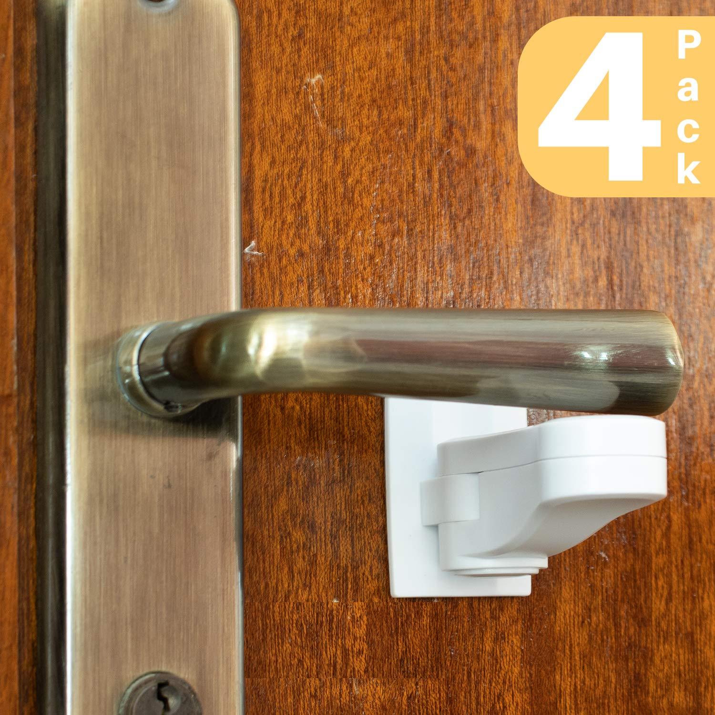 Child Proof Door Lever Lock (4-Pack) - Door Handle Lock - 3M Adhesive - Minimalist Design - No Drilling Child Safety Door Handle Locks by Inaya