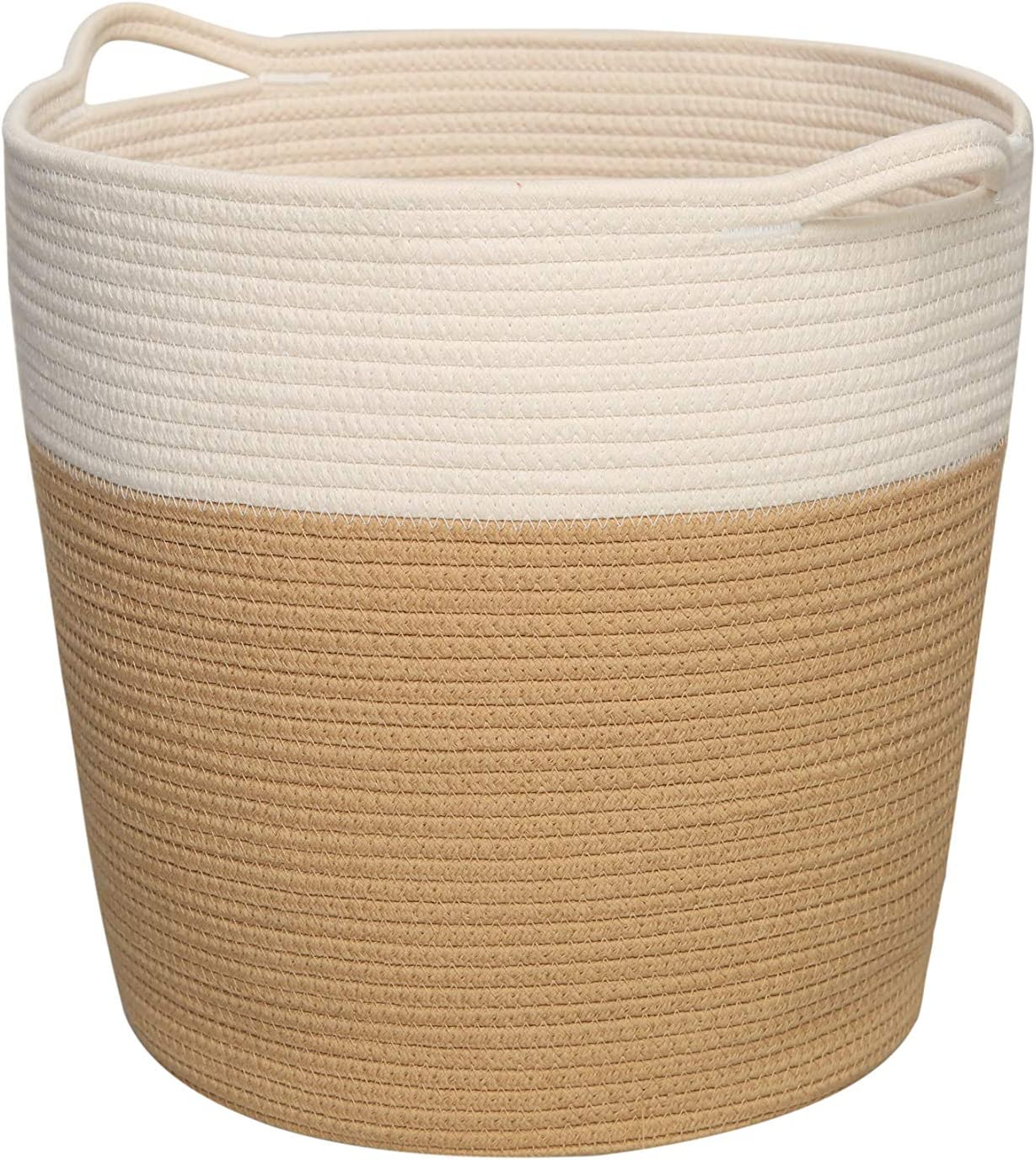 Cotton Rope Basket with Handles, Laundry Basket Clothes Hamper, Home Decor Basket 16.0 x15.0 x12.6 inch, Towel Storage Basket, Woven Blanket Basket, Laundry Hamper, Environmental Protection Material