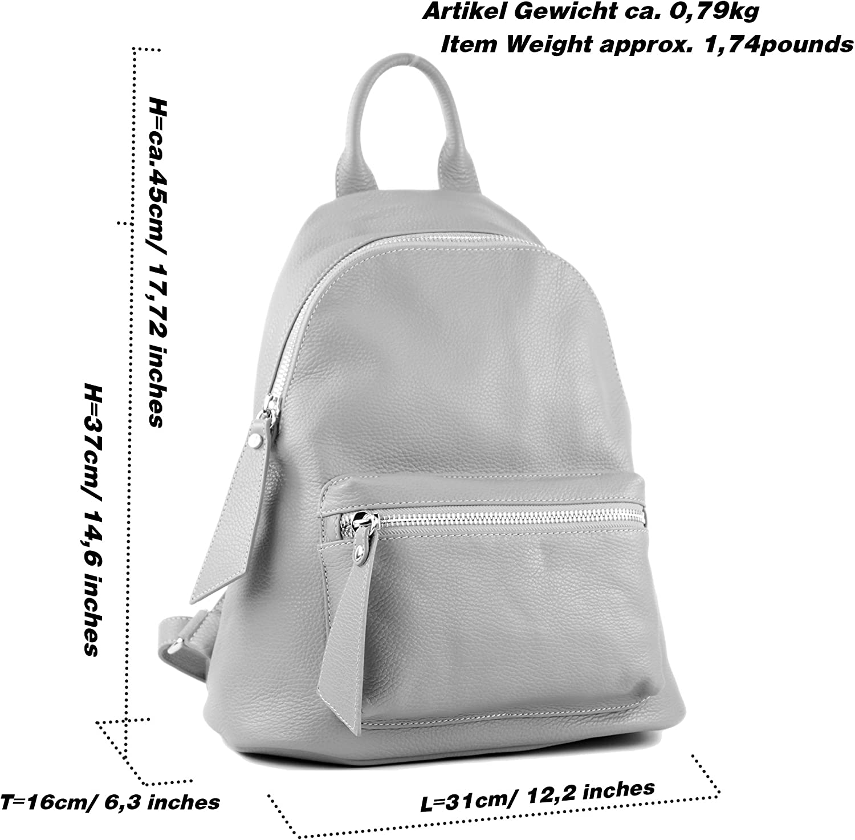 modamoda de - T171A - ital Damen Rucksacktasche aus Leder Weiß