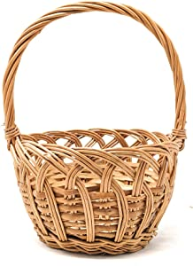 Traditional Polish Handwoven Wicker Easter Basket 8(L) x8(W) x4(H) (9(H) w/Handle) Round Shaped (Mini, Natural)