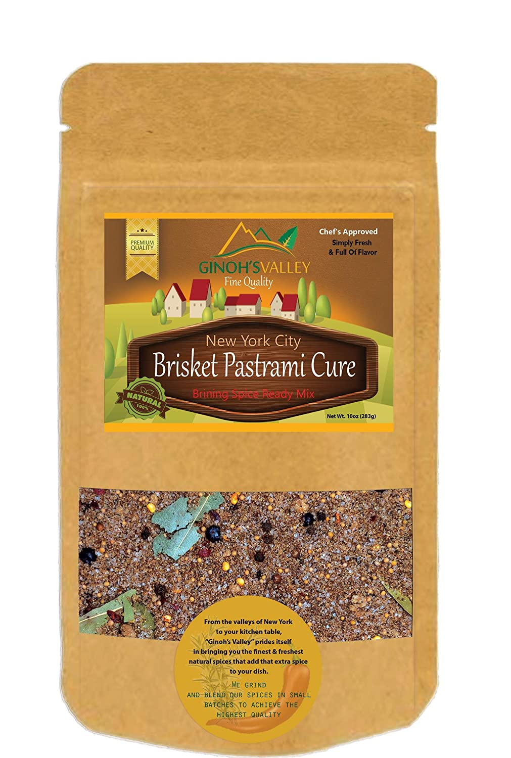 Ginoh's Valley Brisket Pastrami and Corn Beef Cure Seasoning. Brining Spice Ready Mix -Will cure 5lb of Brisket- New York City Style 10 oz