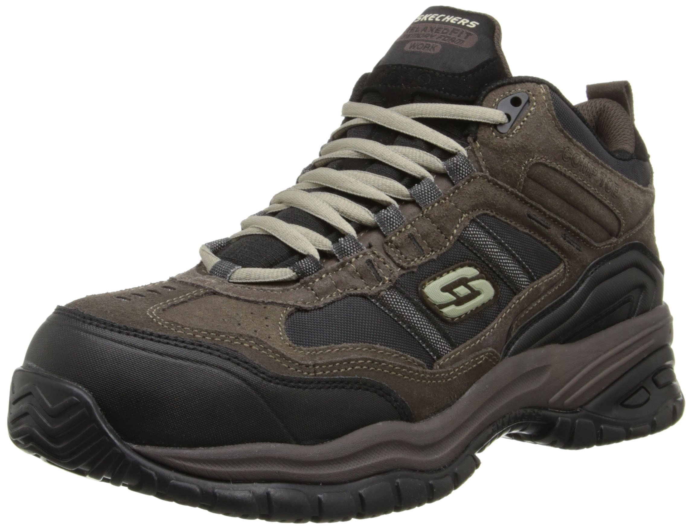Skechers Men's Work Relaxed Fit Soft Stride Canopy Comp Toe Shoe, Brown/Black - 9.5 D(M) US by Skechers