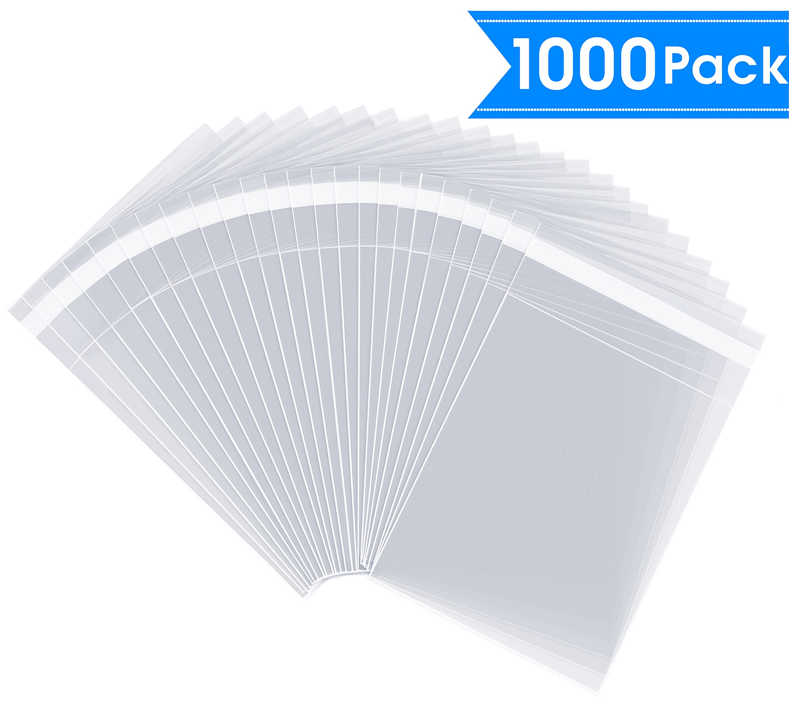 5'' X 7'' (1000 Pack) Clear Resealable Cellophane Cello Bag with Self Seal Adhesive Fits 5X7 inch Prints (A2, A4, A6 Cards Envelopes/Invitations, Photos, Postcards)